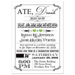 Black and white vintage poster post-wedding reception invitation with lime green hearts