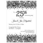 Elegant Silver Glittery Confetti 25th Anniversary Invitation