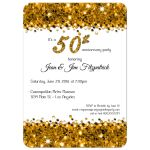 Elegant Gold Glittery Confetti 50th Anniversary Invitation