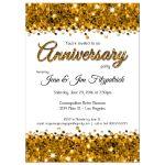 Elegant Gold Glittery Confetti Anniversary Invitation