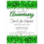 Elegant Green Glittery Confetti Anniversary Invitation