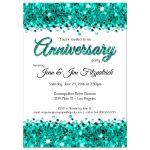 Elegant Teal Glittery Confetti Anniversary Invitation