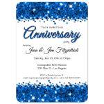 Elegant Blue Glittery Confetti Anniversary Invitation