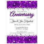 Elegant Purple Glittery Confetti Anniversary Invitation