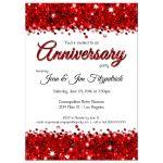Elegant Red Glittery Confetti Anniversary Invitation