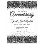 Elegant Silver Glittery Confetti Anniversary Invitation