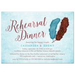 Painted Watercolor Feathers Rehearsal Dinner Invitations front