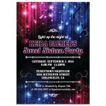 Sweet 16 Party Invitation - Magic Neon Grunge Glow Lights