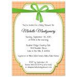 Lime Green With Peach Gingham Baby Shower Invitation
