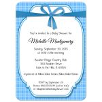 Contemporary Blue Gingham Baby Shower Invitation