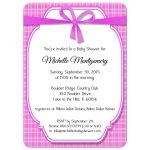 Contemporary Pink Gingham Baby Shower Invitation