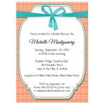 Trendy Teal And Peach Gingham Bridal Shower Invitation