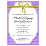 Trendy Purple And Gold Gingham Bridal Shower Invitation