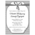 Trendy Silver And Gray Gingham Bridal Shower Invitation