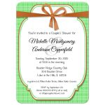 Trendy Copper And Green Gingham Bridal Shower Invitation