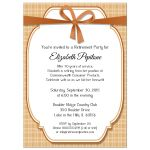 Trendy Copper And Peach Gingham Retirement Party Invitation