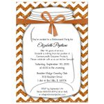 Sparkly Copper And Orange Chevron Retirement Party Invitation