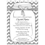 Sparkly Silver And White Chevron Retirement Party Invitation