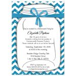 Sparkly Teal And White Chevron Retirement Party Invitation
