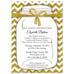 Sparkly Yellow And White Chevron Retirement Party Invitation