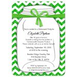 Sparkly Green And White Chevron Retirement Party Invitation