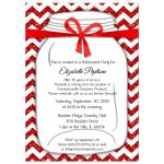Sparkly Red And White Chevron Retirement Party Invitation