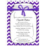 Sparkly Purple And White Chevron Retirement Party Invitation