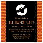 Back bat in front of full moon, Halloween birthday party invite with orange chevron borders.
