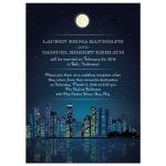 Wedding Reception Invitation - Starry Night City Skyline