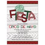 ​Red, green, black and white Aztec bird Mexican Cinco de Mayo fiesta invitation