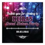 Sweet 16 Party Favor Tag - Magic Neon Grunge Glow Lights