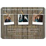 Bridal Wedding Shower invitation - Rustic Three Photo Clothesline