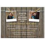 Bridal Wedding Shower invitation - Rustic Two Photo Clothesline