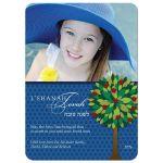 Rosh Hashanah Flat Greeting Photo Card - Apple Tree Dark Blue