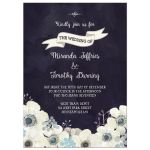 Midnight blue and plum purple floral wedding invite
