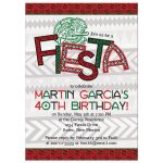 Aztec Mexican fiesta adult 40th birthday party invitation front