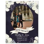 Midnight blue and plum purple floral wedding save the date photo magnet