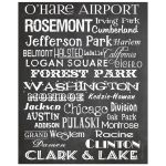 8x10 Chalkboard Wall Art Chicago Blue Line Subway Style Typography