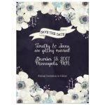 Midnight blue and plum purple floral wedding save the date card