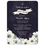 Midnight blue and plum purple floral bridal shower invite