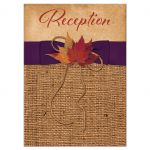 Burlap wedding enclosure card with autumn leaves