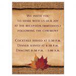 Rustic burlap and autumn leaves wedding reception enclosure card
