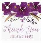 Pretty Watercolor Violet Flowers Personalized Thank You Favor Tags