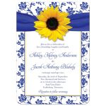 ​Yellow sunflower, white and royal blue damask floral and ribbon wedding invitation front
