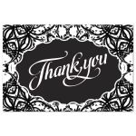 Black White Thank You Postcard