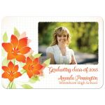 Orange flowers graduation photo party invitation announcement