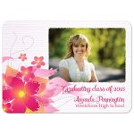 Hot pink floral photo graduation party invite announcement