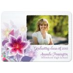 Purple flower photo graduation party invitation announcement