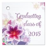 Purple floral graduation party gift favor tag