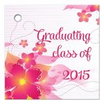 Hot pink floral graduation party gift favor tag